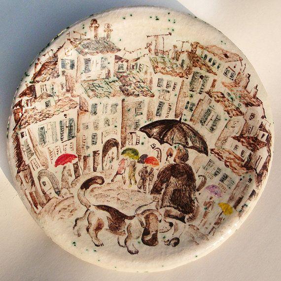 Hand Painted Ceramic Plate ceramic от Natvasclayandpaper на Etsy $77.00 & 31 best Wall plates images on Pinterest   Wall plaques Wall plates ...