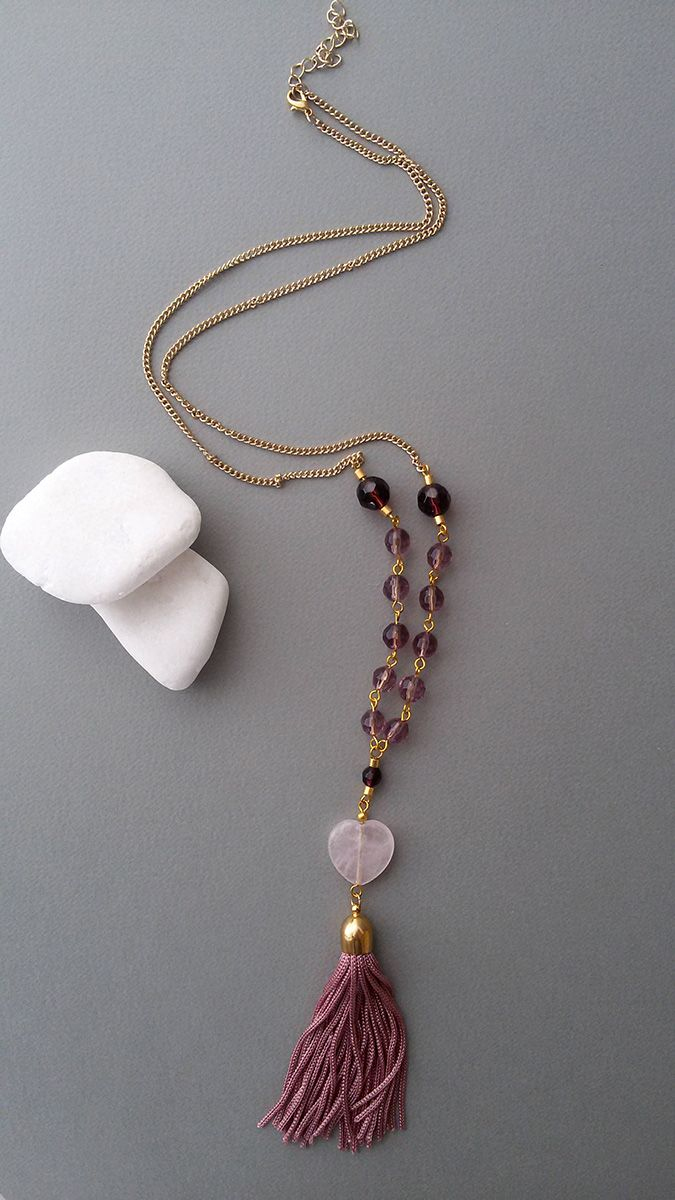 Gold Plated Necklace with Purple Crystal Beads, Rose Quartz Heart Shape Bead and Dusty Pink Tassel with Gold Plated Tassel Cup