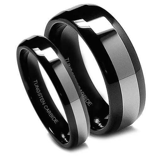 Black Tungsten Wedding Band Set, His & Her Black Rings