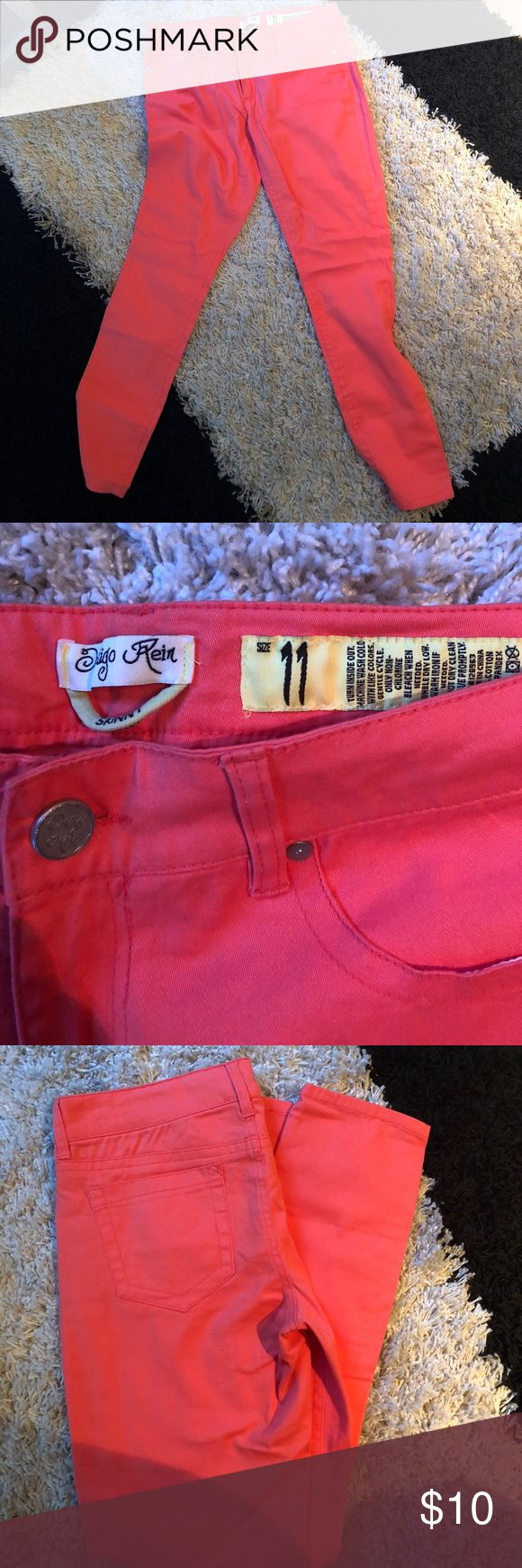 Coral skinny jeans Used in excellent condition. Size 11 Indigo Rein Pants Skinny