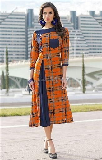 eb1c66c6bd1 ... designs for kurtis. image of Devastating Orange-Blue Front Slit Cut  Indian Party Wear Kurti