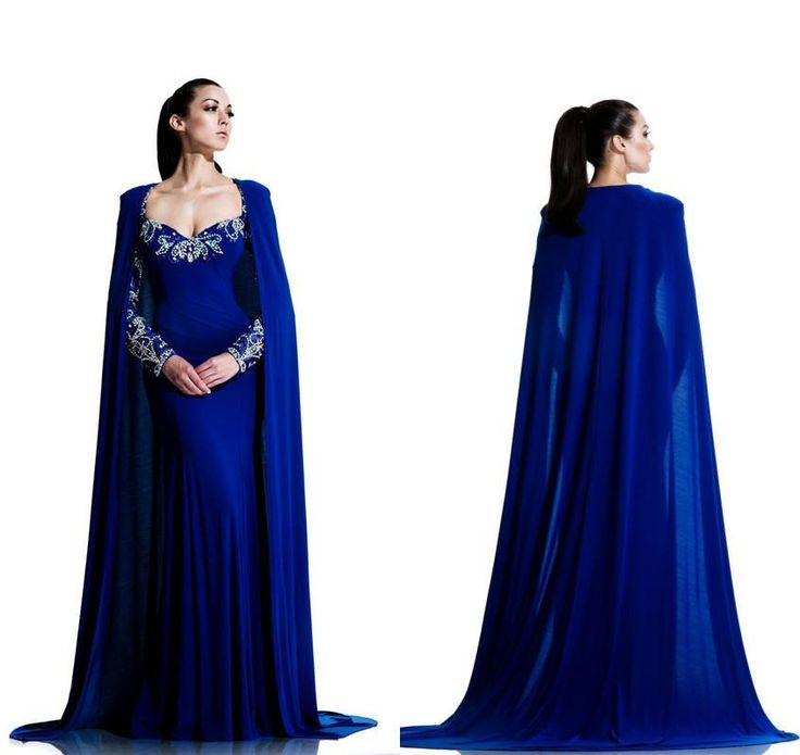 Middle East Sweetheart Sheath Long Sleeve Prom Evening Dresses Chiffon Beading Crystal Chiffon 2015 New Royal Formal Party Gowns With Cape, $140.2 | DHgate.com