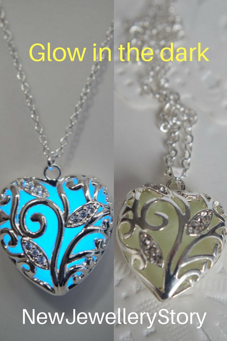 Blue glowing necklace silver necklace heart pendants glow necklace glow in the dark necklace glowing jewelry gifts for mom Valentines day #jewelry #necklace #heart #glowing