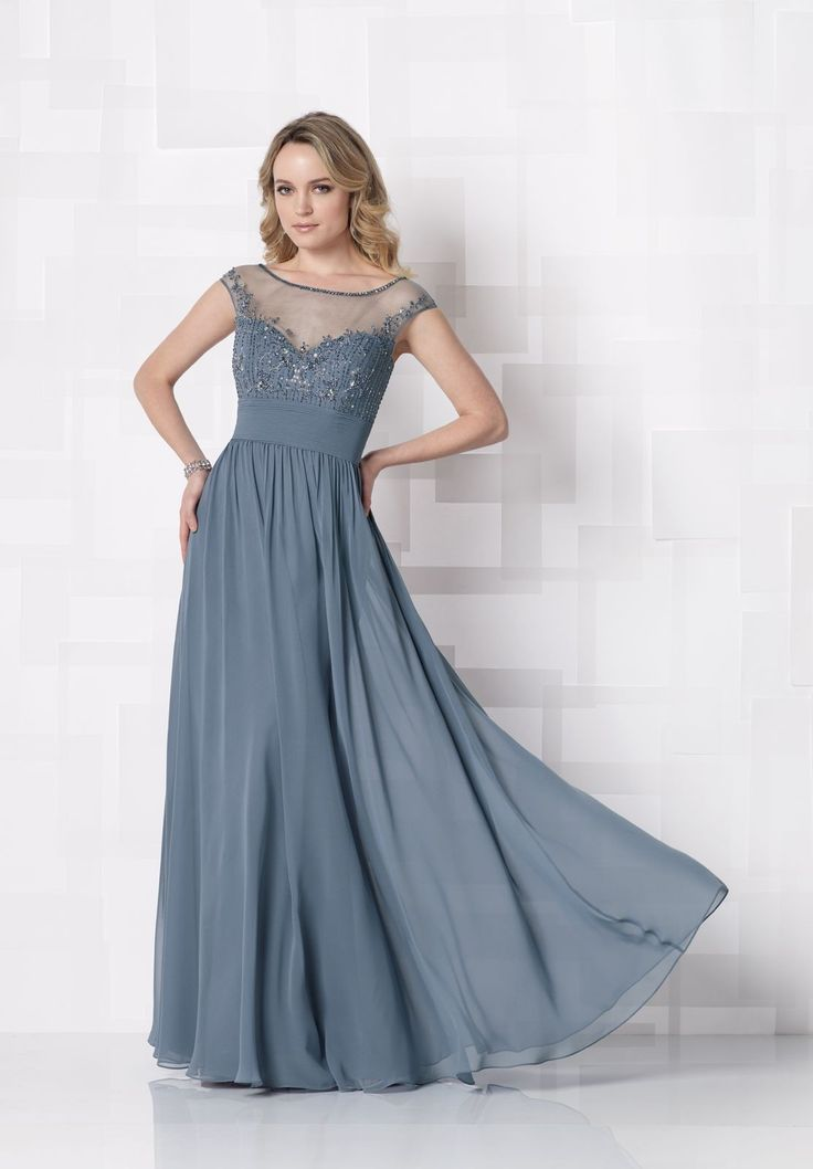 Chiffon Sweetheart A-Line Elegant Long Mother of The Bride Dress with Hand-Beaded Illusion Neckline