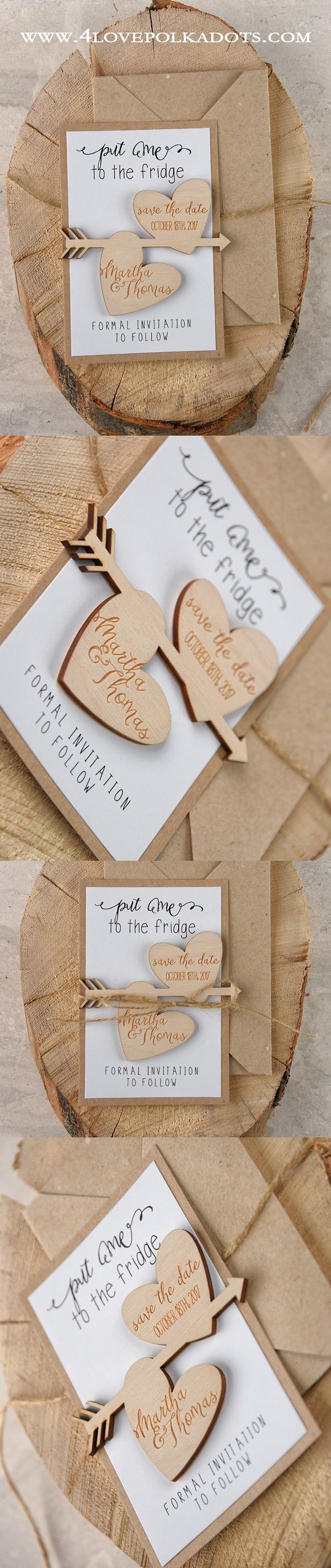 Don't forget to Save the Date ! Rustic Wedding Save the Date cards with wooden hearts #wedding