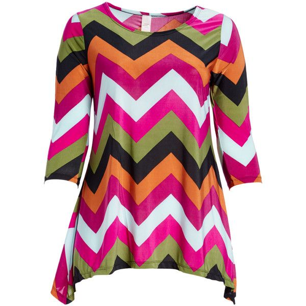 GLAM Pink & Orange Chevron Sidetail Tunic ($14) ❤ liked on Polyvore featuring plus size women's fashion, plus size clothing, plus size tops, plus size tunics, plus size, pink tunic, long length tops, pink chevron top, stretchy tops and long tops