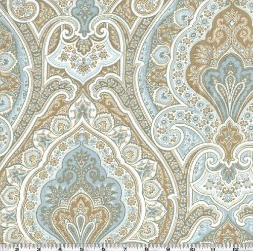 Valance 50''x16'' P Kaufmann Vassar Paisley Horizon khaki tan white robins egg blue curtain window cotton treatment topper designer fabric