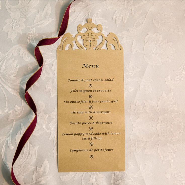 reception information on back of wedding invitation%0A Bohemian Crown Menu Card