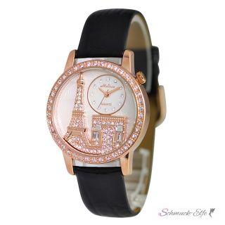 Damen Armbanduhr 3D Paris mit Zirkonien rosegold schwarz