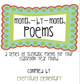 Free 21-page document that is a compilation of various thematic poems for your entire school year!: Poetry Journal, Poems Free, Reading Poems, Free Poems, Monthly Poems, Month Poems, Free 21 Page, School Poems, School Reading