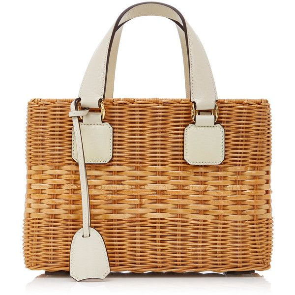 Mark Cross Rattan Small Manray Tote (2,815 CAD) ❤ liked on Polyvore featuring bags, handbags, tote bags, neutral, tote hand bags, tote bag purse, tote purses, mark cross purse and saffiano leather tote