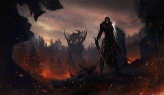 обои для рабочего стола 5000x2892 фэнтези, красавицы и чудовища, воин, девушка, драконы, сражение