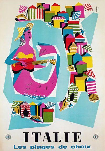 TW17 Vintage Italie Italy Beaches Of Choice Italian Travel Poster A4 | eBay