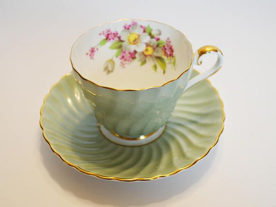 Aynsley Mint Green Tea cup and Saucer Swirl pattern  cabinet