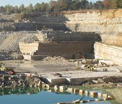 Limestone quarry.  This one is in Bedford, Indiana but there are many all over southern Indiana