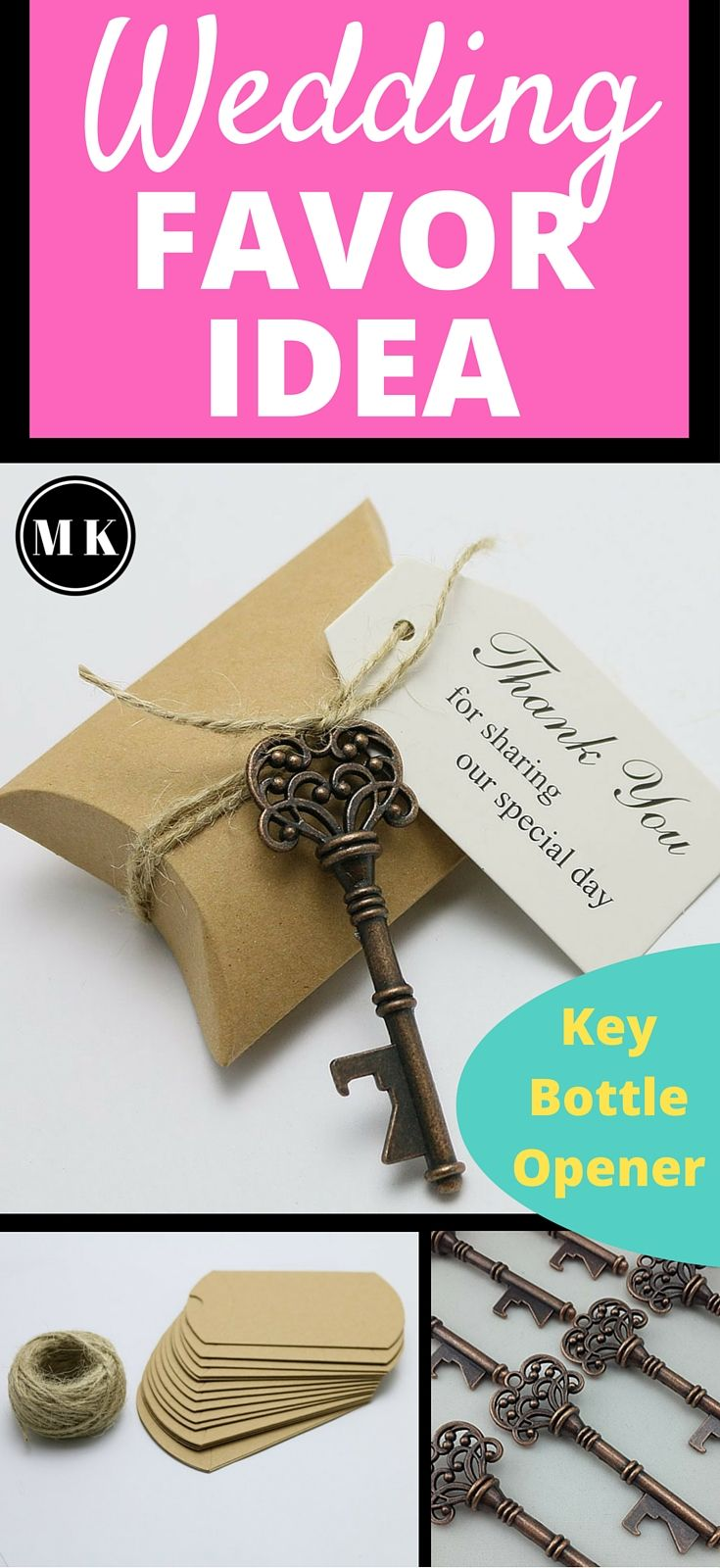 antique skeleton key bottle opener and candy box wedding favor kit - Key Bottle Opener
