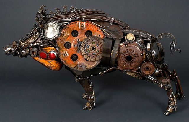 Those sculptures are made by Austrian Artist James Corbett, he creates them by using old car parts taken from scrap yards. Then he sells his creations for thousands of pounds!  It's really an amazing work, take a look!