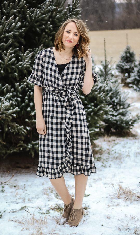 Christmas outfit ideas: Gigham wrap dress