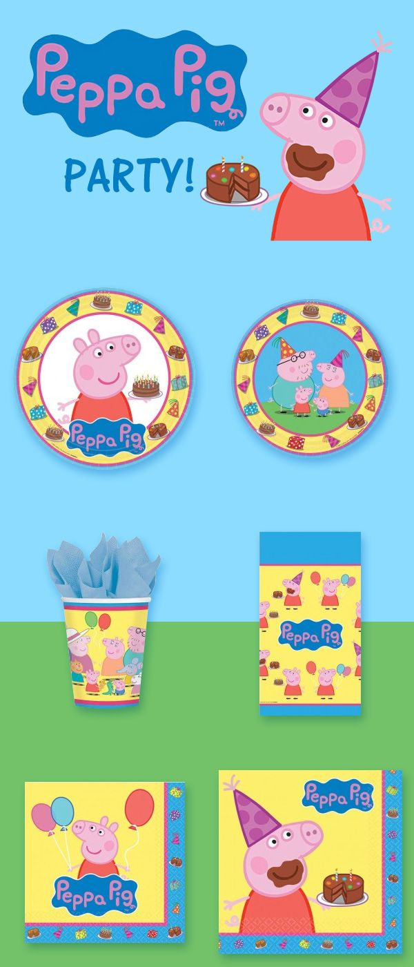 Peppa Pigs Party Supplies - Featuring Peppa Pig, George Pig, Mummy Pig, Daddy Pig & Granny Pig, our Peppa Pig supplies include plates, napkins, cups & a plastic tablecover. We also have several farm themed favors, pink polka dot designs, and even a chocolate birthday cake balloon -- chocolate cake is Peppa Pig's favorite! Start planning your Peppa Pig birthday party today : http://www.discountpartysupplies.com/girl-party-supplies/peppa-pig-party-supplies