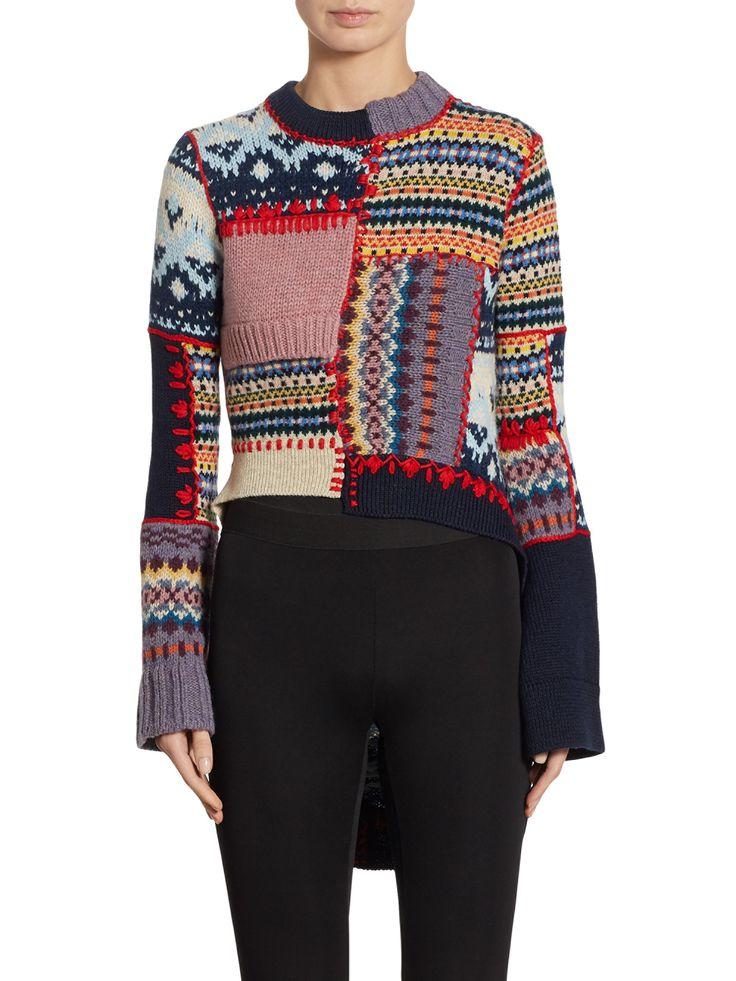 ALEXANDER MCQUEEN Patchwork Wool & Cashmere Hi-Lo Sweater. #alexandermcqueen #cloth #all