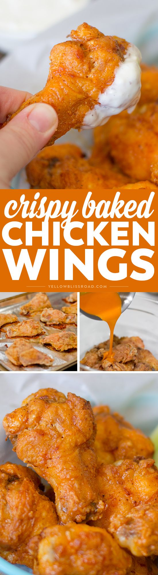 BEST EVER Crispy Baked Chicken Wings coated with spicy buffalo sauce. A family favorite for dinner or a game day appetizer favorite for a crowd! via @yellowblissroad