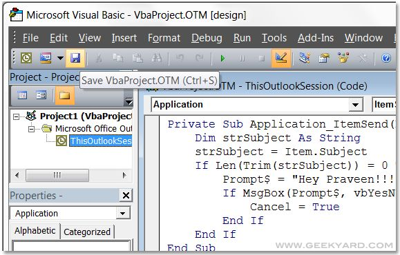 By default, Microsoft Outlook 2007 does not provide any warning message for missing Subject Lines. My office friends often sent mail to customers without any subject line. We can create macro using Visual Basic(VB) to solve this issue. Now lets see the steps to enable subject warning message using Visual Basic. 🙂 Steps to Create …