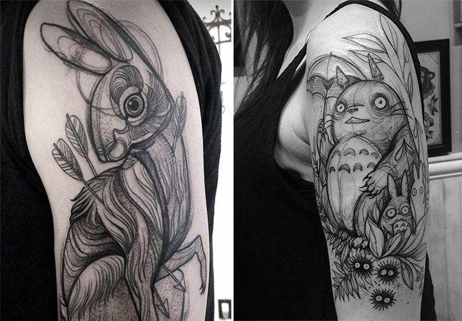 Na hora de fazer uma tatuagem, primeiro surge uma ideia, depois ela vira esboço e vai se moldando até ficar perfeita para ser gravada na pele. Mas nos traços de Nomi Chi, parecem que elas nunca saíram dorascunho e o resultado não poderia ser mais legal. Através de suas mãos, os desenhos são formados com traços que se parecem rabiscos de lápis, dando a impressão de que estamos olhando para um livro de esboços. A estudante de Vancouver, no Canadá,criou uma maneira única de tatuar.