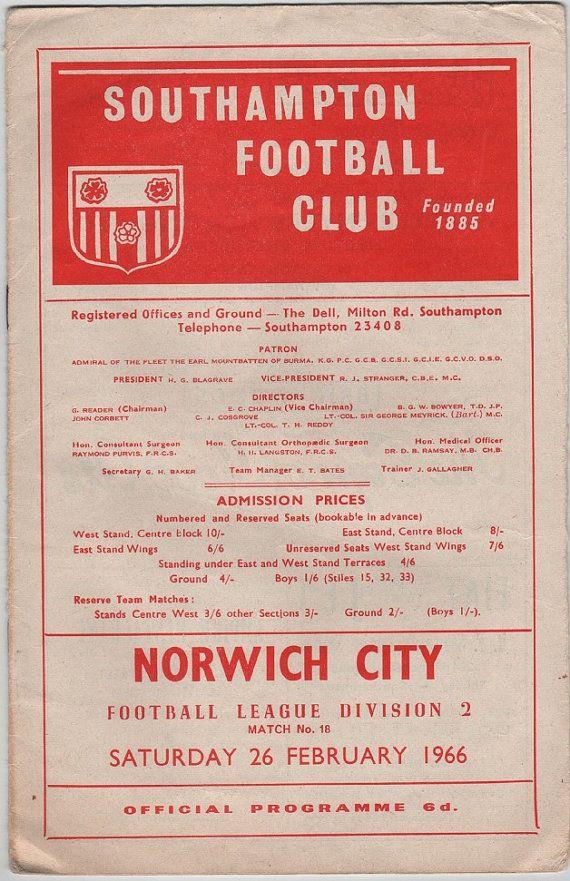Vintage Football (soccer) Programme - Southampton v Norwich City, 1965/66 season, by DakotabooVintage #vintage #football #soccer