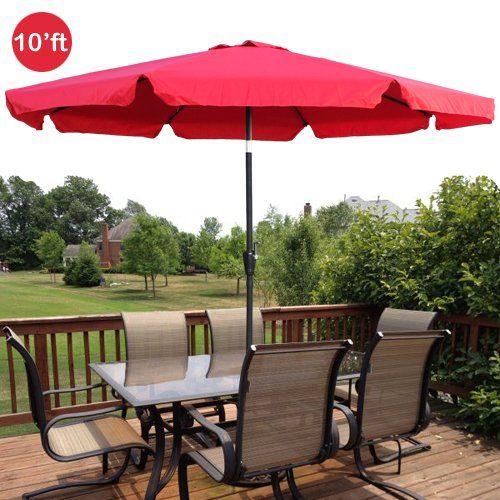 Nice 10ft Outdoor Patio Umbrella Aluminum W/ Tilt Crank Valance U2013 Red. | Http:
