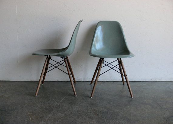 Herman Miller Eames Dowel Base Side Chair  / love the seafoam color and wooden base.