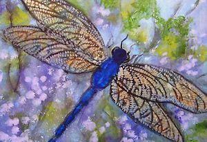 ACEO Cape Cod Artist Original Mini Painting Blue Dragonfly Trees Purple Flowers | eBay