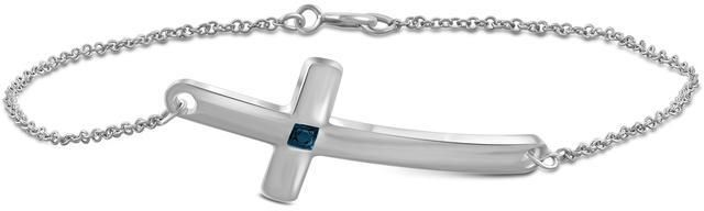 Ice Blue Dia. Accent Sterling Silver Cross Bracelet By JewelonFire