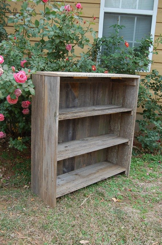 Eco Friendly Wood Bookcase. Raw Wooden Furniture, Country Furniture Shabby,  Reclaimed Cedar,