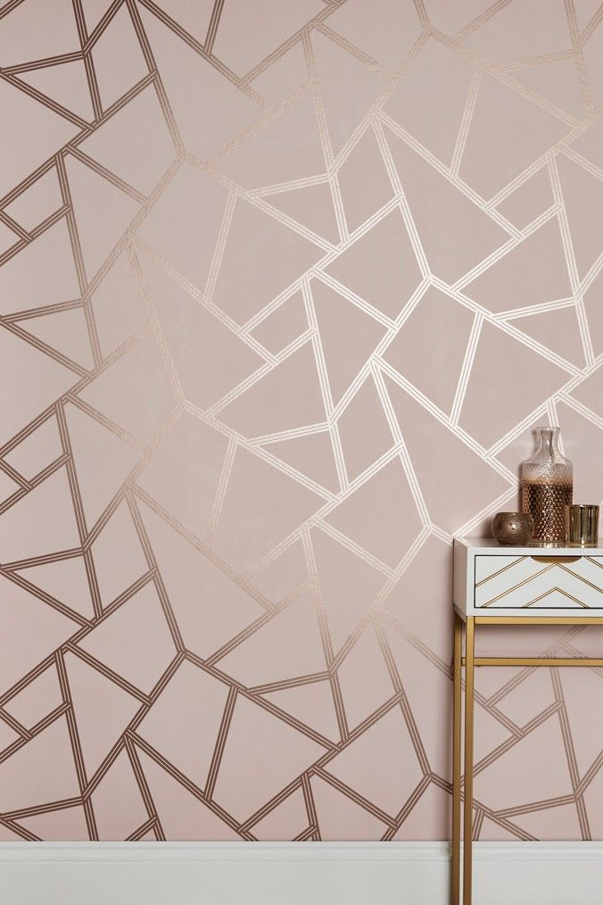 Buy Paste The Wall Blush Metallic Geo Wallpaper From The Next Uk Online Shop Pink And Gold Wallpaper Girls Bedroom Wallpaper Rose Gold Bedroom