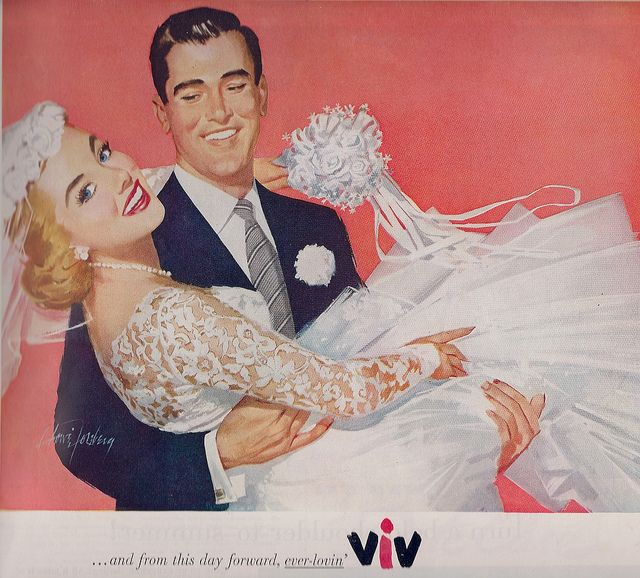It occurs to me, as I go about merrily pinning, that I have such a love for images of vintage brides (like the one in this great Viv lipstick ad from 1956). #vintage #bride #wedding #ads #1950s #fifties