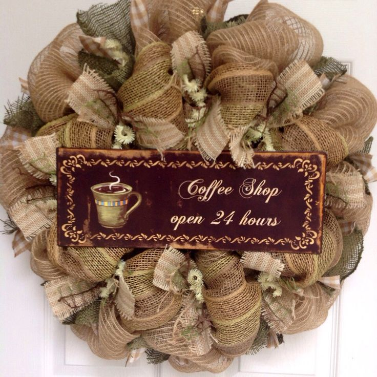 A personal favorite from my Etsy shop https://www.etsy.com/listing/235623337/coffee-shop-open-24-hours-kitchen-wreath
