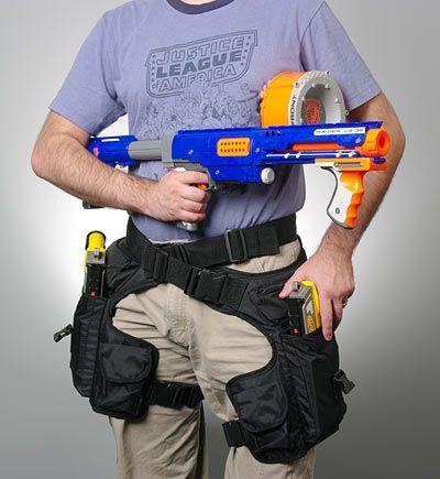Drop-leg gadget holster from Think Geek (Nerf gun not included)...