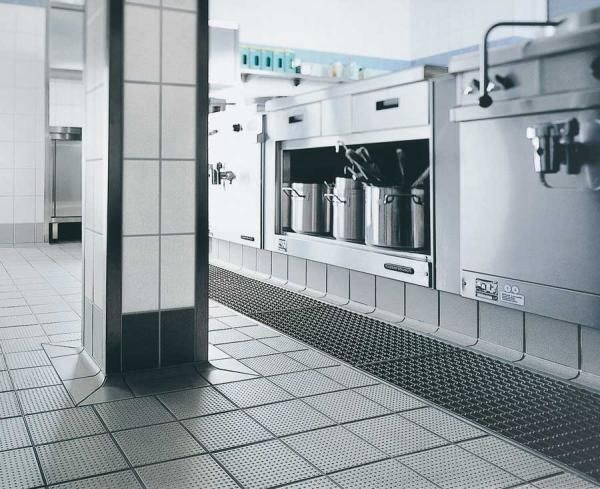 Non Slip Faux Metal Tile In Commercial Kitchen Http Www Atlantatileexperts