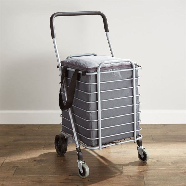 Shop Polder ® Folding Shopping Cart with Insulated Grey Liner.  Life meets style™ at the intersection of form and function courtesy of the bright minds at Polder® Housewares.