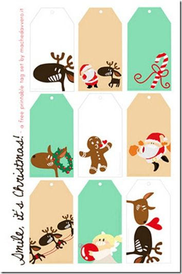 Rudolf, Santa + the gingerbread man = cute, free downloadable gift tags