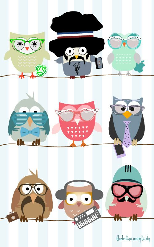 hipster owls by Mary Birdy