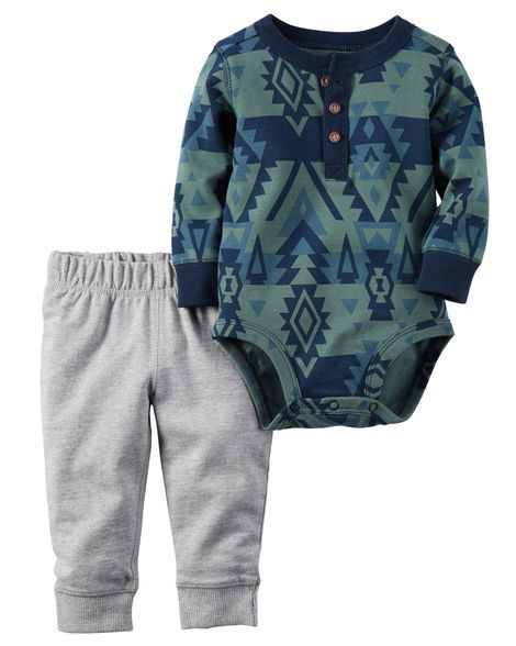 Complete with cozy terry pants and a soft printed bodysuit, hes playdate ready in this 2-piece set.