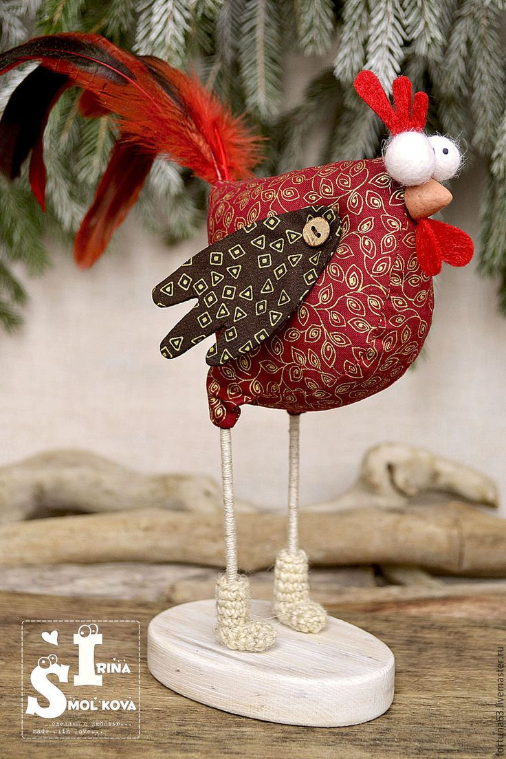 Handmade ROOSTER 2017 - bright red, cock, rooster, 2017 rooster, New Year