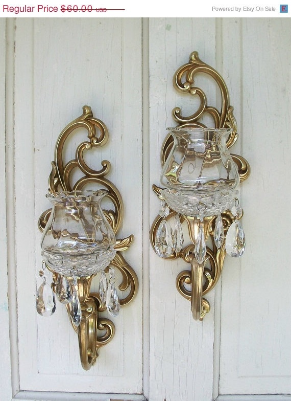 Wall Sconces For Candles With Crystals : Vintage set of two Syroco Inc gold candle wall sconces with glass votives and crystals Made in ...