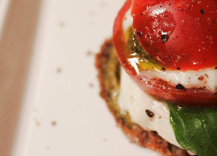 At Maria's // caprese  salad on rye bread
