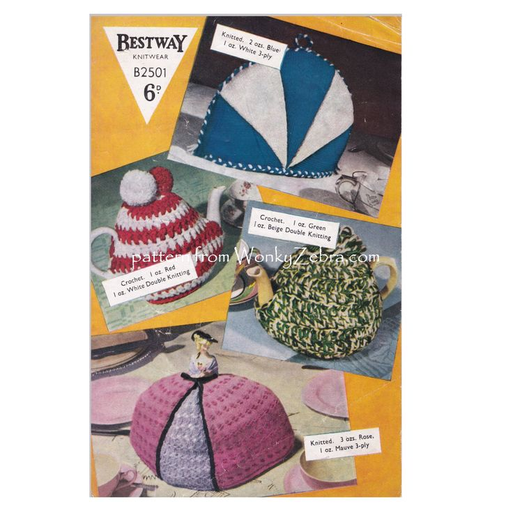 vintage tea cosy pattern WZ907 from WonkyZebra, one crochet style and two different knitted designs.