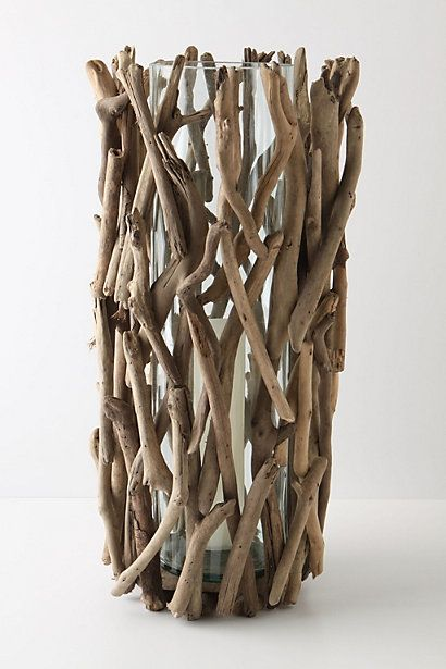 DIY Twig vase. Attach them with tiny dots of hot glue.