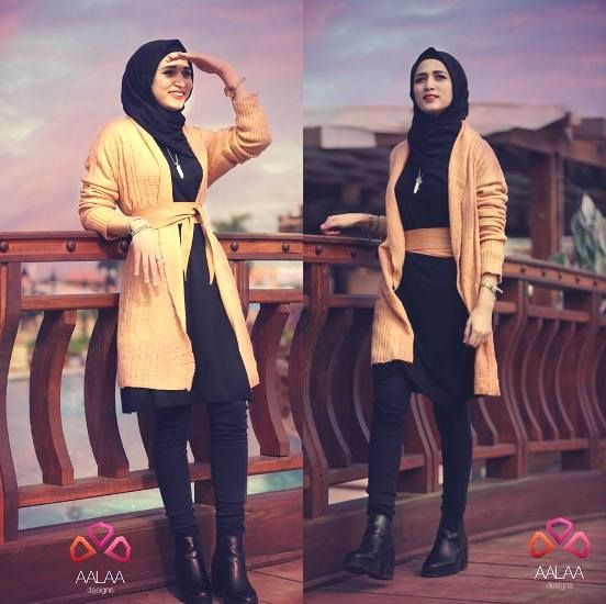 tan knit cardigan hijab look, Aalaa designs winter collection http://www.justtrendygirls.com/aalaa-designs-winter-collection/