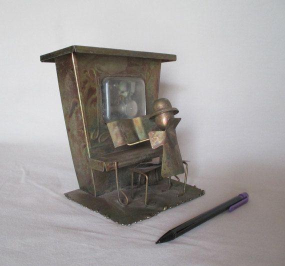 Music Box, Metal Vintage Piano Player Rag Time, a la Scot Joplin  Folk Music Song , Mechanical, Windup, Original Patina Display