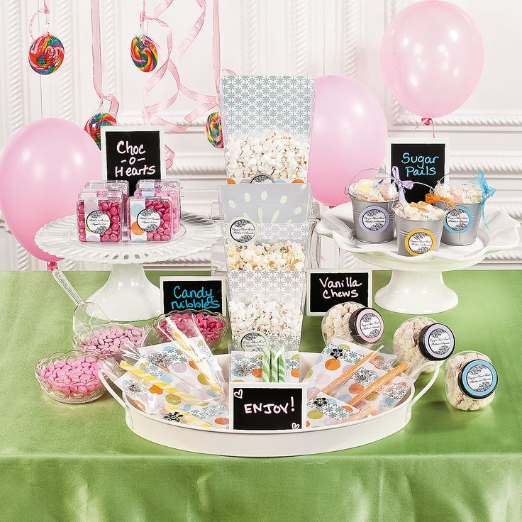 Make your candy buffet memorable by personalizing your desserts with favor stickers placed on treat bags and clear serving containers.
